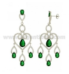 68X23 MM EARRINGS SILVER RHODIUM TIT 925 ‰ AND ZIRCONIA WHITE AND GREEN