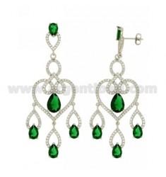 68X23 MM Ohrringe Silber RHODIUM TIT 925 ‰ und Zirkonia weiß und grün