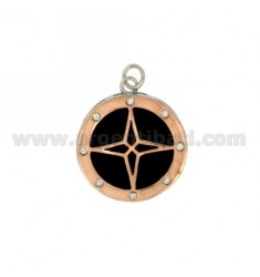 CHARM ROUND MM 23X20 ROSE OF THE WINDS IN SILVER RHODIUM AND COPPER TIT 925 ‰ ZIRCONIA AND ONYX