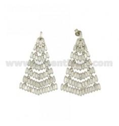 Earrings FAN WITH SHUTTLE OF ZIRCONIA SILVER RHODIUM TIT 925