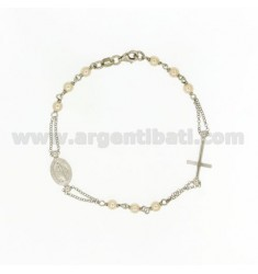 BRACELET ROSARY BEADS WITH A TOUR TO 20 CM 4 MM SILVER RHODIUM TIT 925 ‰