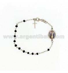 Rosenkranz Armband mit schwarzen Steinen facettierten MM 3,5 X 2,8 CM 20 MIRACULOUS Madonna mit Silber Rhodium 925 ‰