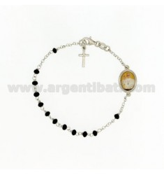 ROSARY BRACELET WITH BLACK STONES faceted MM 3.5 X 2.8 CM 20 WITH POPE FRANCIS IN SILVER RHODIUM 925 ‰