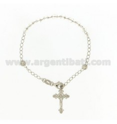 BRACELET ROSARY WITH CLEAR STONES faceted MM 4.5 X 4.5 CM 54 SILVER RHODIUM 925 ‰ CM 20