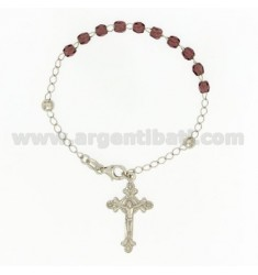 ROSARY BRACELET WITH STONES PURPLE faceted MM 4.5 X 4.5 CM 54 SILVER RHODIUM 925 ‰ CM 20