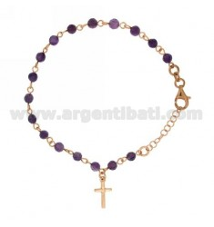 BRACELET ROSARY WITH BALL 4 MM STONE PURPLE SILVER COPPER TIT 925 ‰ CM 19