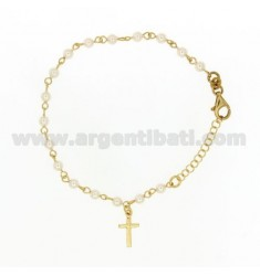 BRACELET WITH BALLS ROSARY BEADS 4 MM SILVER GOLD TIT 925 ‰ CM 19