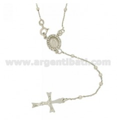 ROSARY NECKLACE 45 CM WITH BALLS AND 3 MM MADONNINA WITH ZIRCONIA SILVER TIT 925
