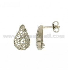 PAIR OF ATTACK FOR EARRING DROP TRAFOTARA 14X10 MM AND jersey SILVER RHODIUM TIT 925 ‰