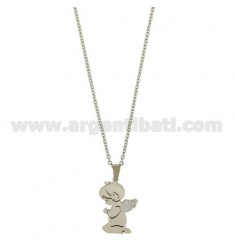CHAIN CABLE WITH ANGEL WITH GLITTER COURT MM 32X21 STEEL