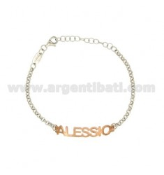 ROLO BRACELET &39PRINT NAME BABY ALEXIS SILVER PLATED RHODIUM AND ROSE GOLD TIT 925%