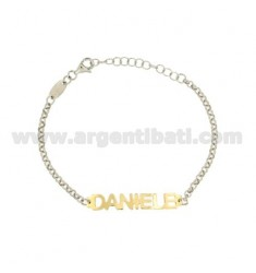 ROLO BRACELET 'BABY NAME PRINT DANIELE IN SILVER PLATED RHODIUM AND GOLD TIT 925%