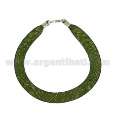 MESH BRACELET WITH STONES SYNTHETIC GREEN GRASS AND SILVER TIT 925 ‰ CM 18