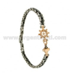 CERAMIC BRACELET BLACK AND HELM STEEL TWO.TONE AND STRASS 21 CM