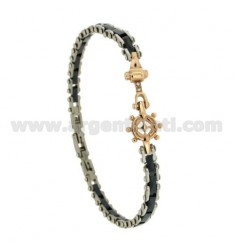 CERAMIC BRACELET BLUE HELM AND STEEL TWO.TONE AND STRASS 21 CM