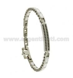 Armband aus WHITE Keramikplatten mit Schwarzen ZIRCONIA STAHL 21 CM
