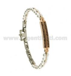 Armband aus WHITE Keramikplatten mit Schwarzen ZIRCONIA STEEL BICOLORE CM 21