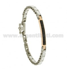 BRACELET IN WHITE CERAMIC PLATES WITH BLACKS ZIRCONIA STEEL BICOLORE CM 21