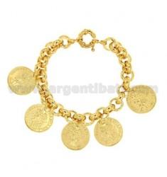 BRACELET Bronze überzogen GOLD MÜNZEN