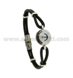 BRACELET WITH ROUND MM 18 AND STILL IN BLACK LEATHER 21 CM STEEL AND NAIL