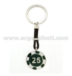 KEY RING WITH CHIPS 25 25 MM STEEL, POLISH AND LEATHER