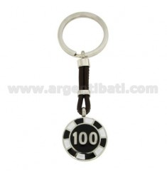 KEY RING WITH CHIPS 100 25 MM STEEL, POLISH AND LEATHER