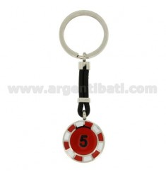 KEY RING WITH CHIPS 5 25 MM STEEL, POLISH AND LEATHER