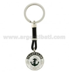 KEY RING WITH ROUND AND EVEN 25 MM STEEL, POLISH AND LEATHER