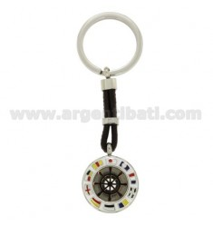 KEY RING WITH ROUND AND RUDDER 25 MM STEEL BICOLOR, POLISH AND LEATHER
