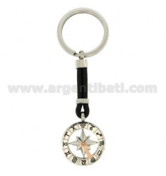 KEY RING WITH ROUND ZODIAC 25 MM STEEL, POLISH AND LEATHER