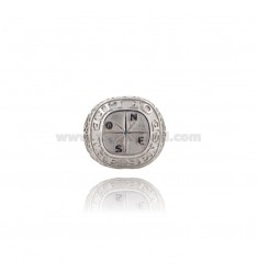 RING MEN WITH WIND ROSE AND TREE OF LIFE SILVER RHODIUM TIT 925 ‰ SIZE ADJUSTABLE
