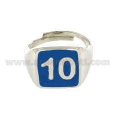 RING MEN WITH NUMBER 10 BLUE SILVER RHODIUM TIT 925 ‰ MEASURE ADJUSTABLE