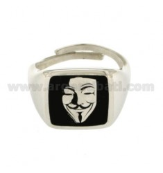 ANONYMOUS BLACK MEN'S RING IN SILVER RHODIUM TIT 925 ‰ ADJUSTABLE SIZE