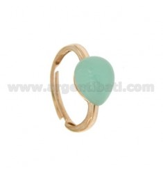 RING WITH STONE HYDROTHERMAL DROP MM 1 GREEN TIFFANY ROSE GOLD PLATED 20 IN AG TIT 925 ‰ SIZE ADJUSTABLE