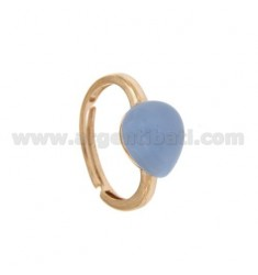 RING WITH STONE HYDROTHERMAL DROP MM 28 IN 1 CARD SUGAR AG PLATED ROSE GOLD TIT 925 ‰ SIZE ADJUSTABLE