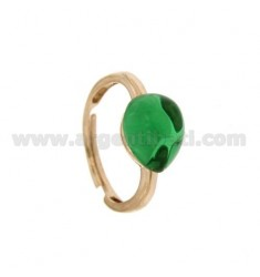 RING WITH STONE HYDROTHERMAL DRIP 1 GREEN 40 MM IN ROSE GOLD PLATED AG TIT 925 ‰ SIZE ADJUSTABLE