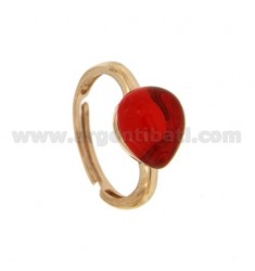 RING WITH STONE HYDROTHERMAL DRIP 1 MM RED ROSE GOLD PLATED 57 IN AG TIT 925 ‰ SIZE ADJUSTABLE
