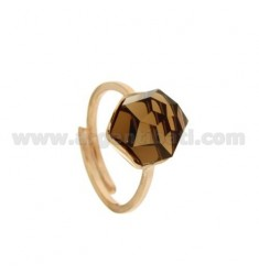 RING WITH FACETED ROUND STONE 11 MM FUME '68 COPPER SILVER TIT 925 ‰ ADJUSTABLE SIZE