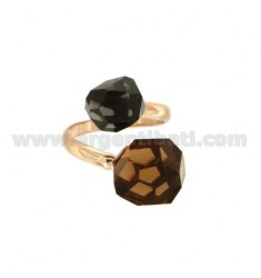 CONTRARIE RING WITH FACETED ROUND STONES MM 11 SMOKED AND DARK GRAY IN COPPER SILVER TIT 925 REG ADJUSTABLE SIZE
