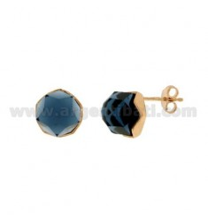 EARRINGS LOBO STONE ROUND faceted MM 1O BLUE SILVER COPPER TIT 925 ‰