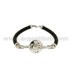 TUBULAR RUBBER BRACELET 5 MM WITH CENTRAL GEAR IN RHODIUM-PLATED SILVER TIT 925