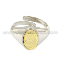MAN RING OVAL 15X10 MM WITH POPE FRANCIS PLATED GOLD SILVER RHODIUM TIT 925 ‰ ADJUSTABLE SIZE