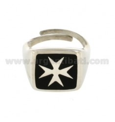 RING MEN WITH MALTESE CROSS SILVER RHODIUM TIT 925 ‰ SIZE ADJUSTABLE