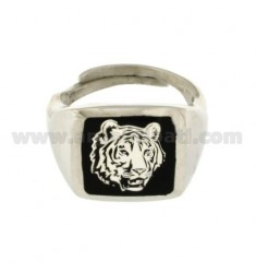 MEN'S RING WITH TIGER ENAMELED SILVER RHODIUM-PLATED TIT 925 ‰ ADJUSTABLE SIZE