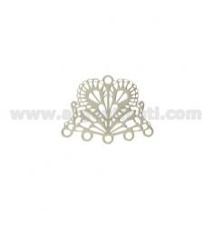 MM 20x16 FAN ATTACK FÜR OHR ODER TERMINAL für Halskette und Armband 5.adrig Silber rhodiniert TIT 925