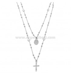 COLLIER zwei Draht KRONE Silber Rhodium TIT 925 ‰ CROSS, Madonna und Partitionen in Zirkonia weiß