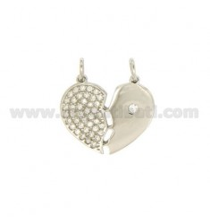 PENDANT HEART DIVIDED 20x22 MM SILVER TIT 925 ‰ AND ZIRCONIA