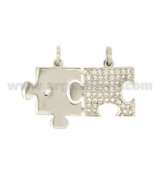 Pendants PUZZLE DIVISIBLE MM 22X35 SILVER TIT 925 ‰ AND ZIRCONIA