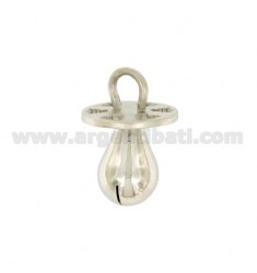 Pendant pacifier RATTLE MM 26x17 PERFORATED WITH ANGELS IN SILVER RHODIUM TIT 925 ‰