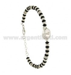 BRACELET BALL 3.5 MM AND WASHERS RUBBER &39WITH CENTRAL ROUND WITH CROSS IN SILVER RHODIUM TIT 925 ‰ CM FROM 18 TO 21